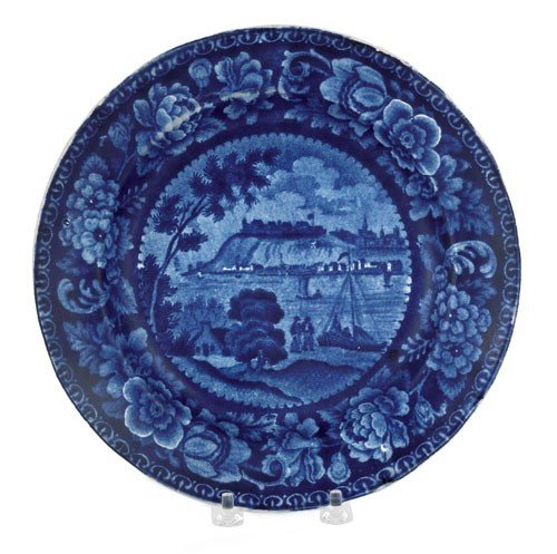 316: Historical blue Staffordshire plate, 19th c., w
