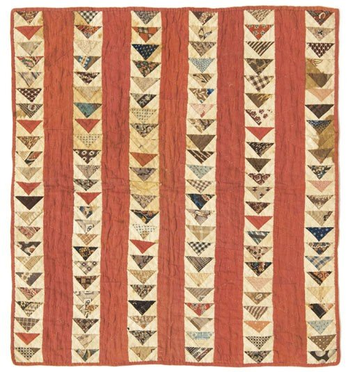 329: Lancaster County flying geese doll quilt, 19th c