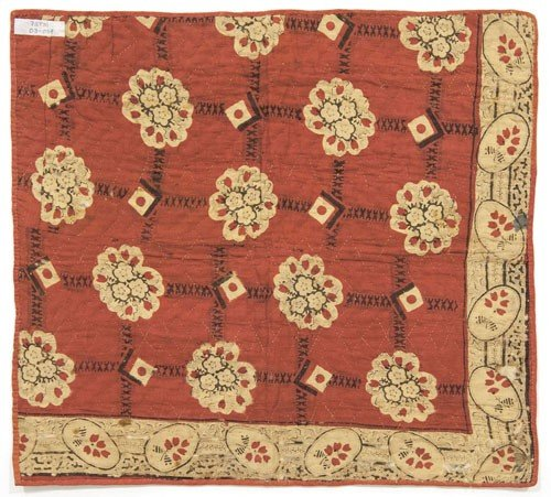329: Lancaster County flying geese doll quilt, 19th c - 2