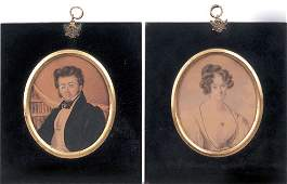 738: Pair of miniature watercolor on paper portraits
