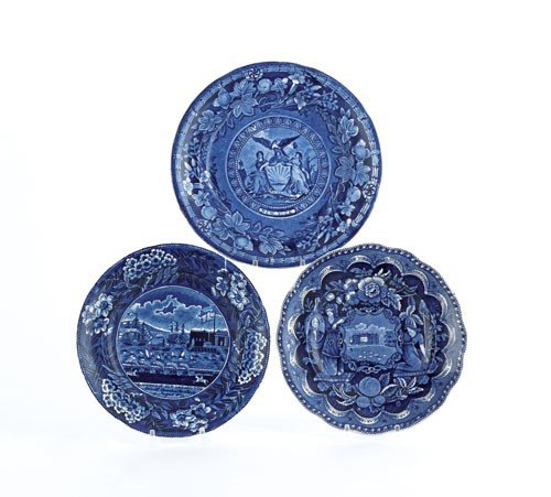 801: Three historic blue Staffordshire plates, 19th c
