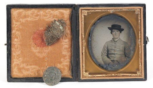 1011: Confederate soldier ambrotype, identified as P
