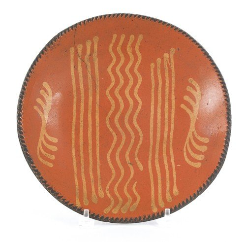 10: Pennsylvania redware charger, 19th c., with yel