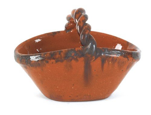 14: Pennsylvania redware basket, 19th c., with rope