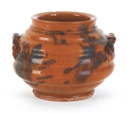 16: Pennsylvania redware jar, 19th c., with lobed b
