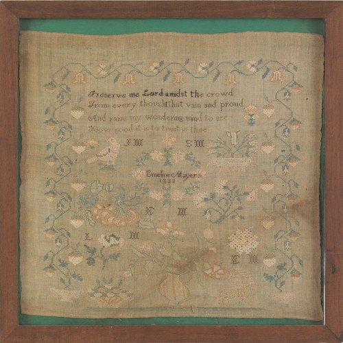 217: Pennsylvania silk on linen sampler dated 1833