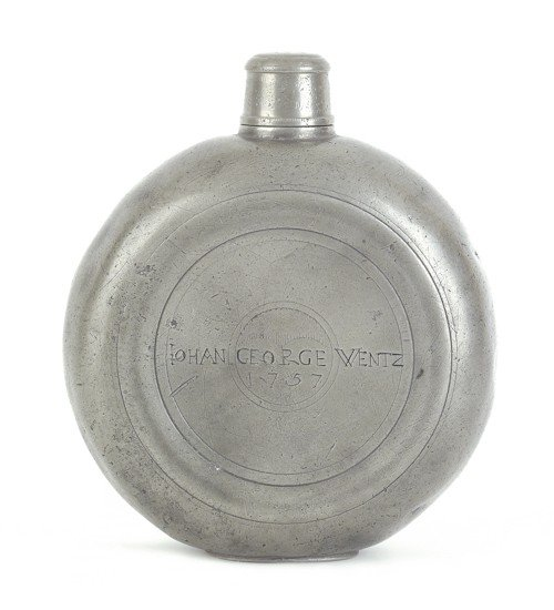 301: Rare Lancaster, Pennsylvania pewter flask, dated