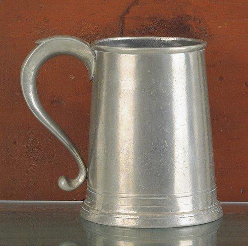 306: Philadelphia pewter quart mug, ca. 1820, bearin