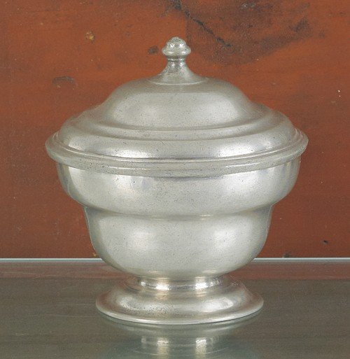 307: Philadelphia pewter sugar bowl, attributed to Wi