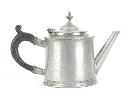 308: Philadelphia pewter teapot, ca. 1775, bearing t
