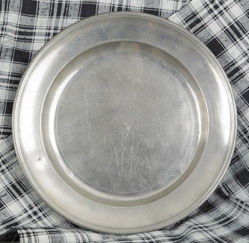 313: Philadelphia pewter plate, ca. 1810, bearing th
