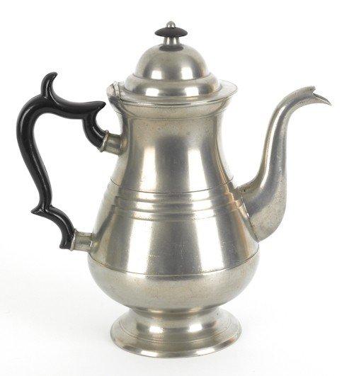 319: Philadelphia pewter coffeepot, ca. 1840, bearin
