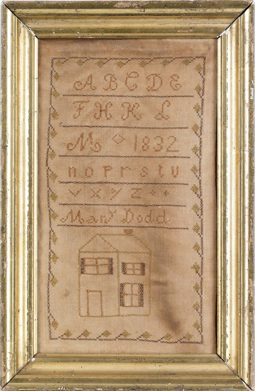 3: Silk on linen house sampler dated, 1832, wrough