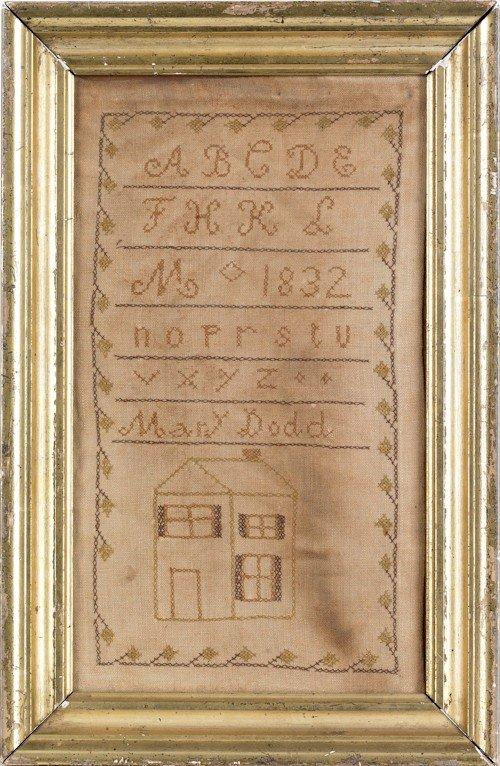 3: Silk on linen house sampler dated, 1832, wrough