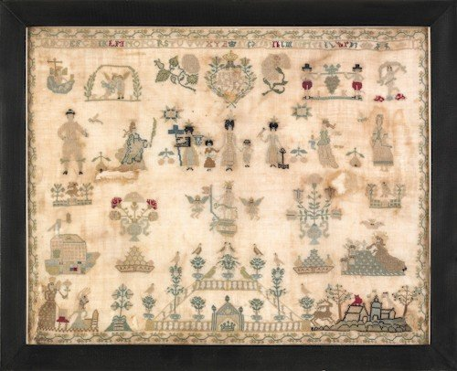 6: Continental silk on linen sampler, dated 1796,
