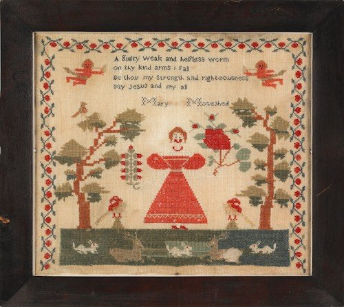 7: Wool needlework sampler, mid 19th c., wrought by