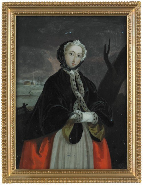 9: English reverse painted portrait of a woman, earl
