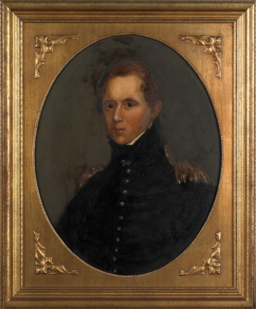 14: Oil on board military portrait, signed Hulmes,