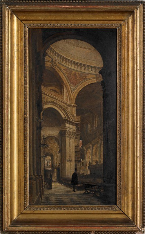 17: Oil on board church interior, ca. 1900, 18 1/2'' x