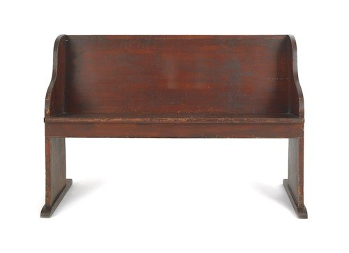 20: Stained poplar church pew, 32 1/2'' h., 47'' w.