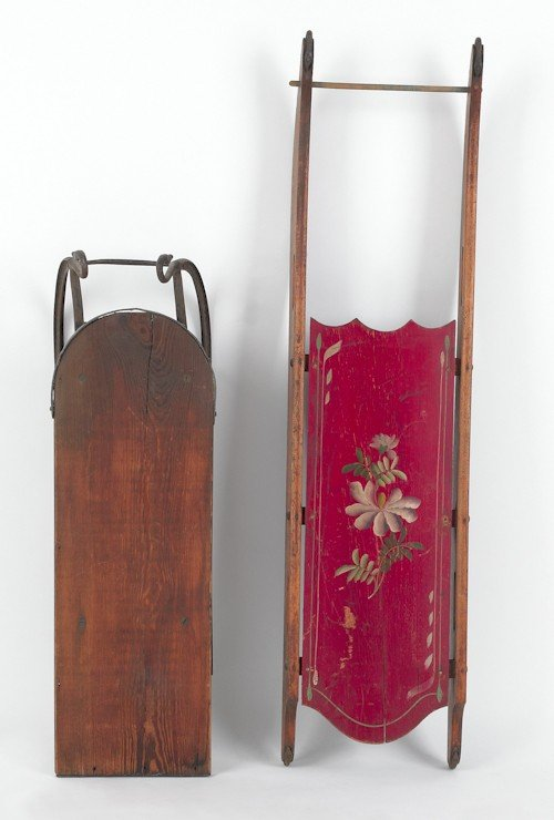 21: Painted sled, 46'' l., together with another sled