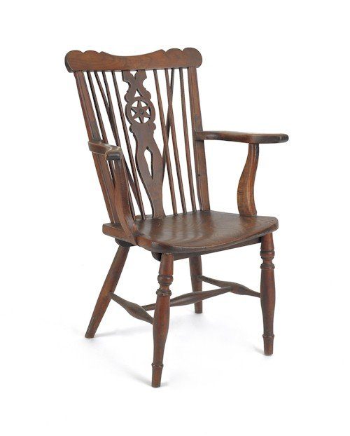 23: English yewwood armchair, 19th c.