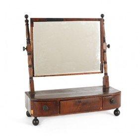 Regency Mahogany Shaving Mirror, Early 19th C., 2