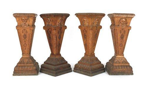 29: Set of four carved oak pedestals, ca. 1900, 38'' h