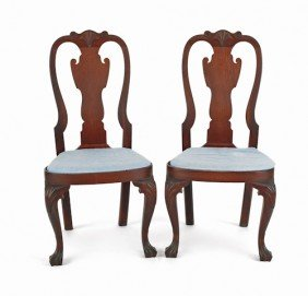 Pair Of Queen Anne Style Walnut Compass Seat Dini
