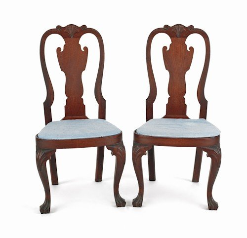 37: Pair of Queen Anne style walnut compass seat dini