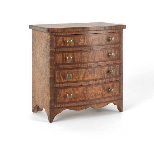 41: Contemporary miniature curly maple bowfront chest