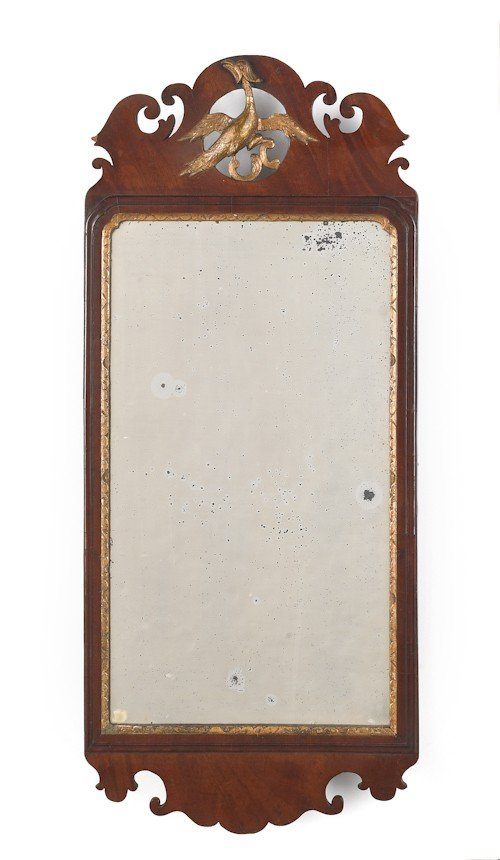 45: Chippendale mahogany looking glass, late 18th c.,