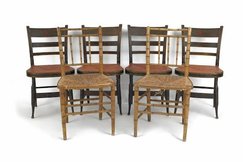 46: Set of four painted rush seat chairs, together wi