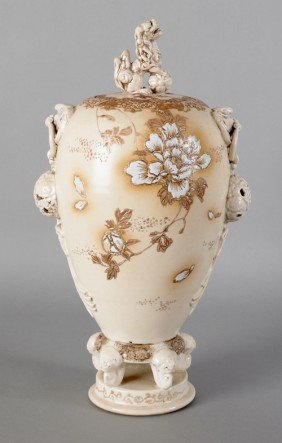 Enameled Porcelain Covered Vase, 19th C., With Fo