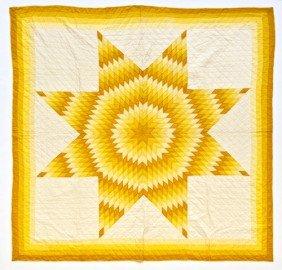 Cotton Lonestar Quilt, Mid 20th C., 86'' X 84''.