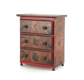 Contemporary Miniature Painted Chest Of Drawers,