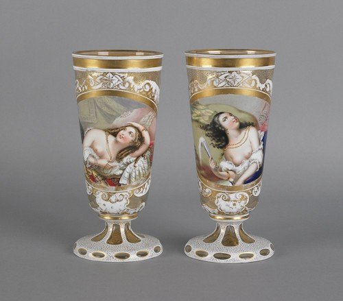 97: Pair of Bohemian glass vases, late 19th c., with