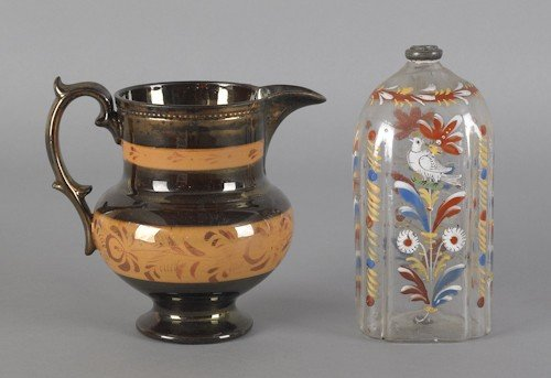 107: Stiegel type enameled bottle, 19th c., together w