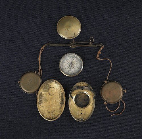 114: Brass pocket compass, 19th c., together with a to