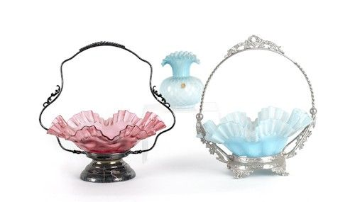 Two Victorian bride's baskets, together with a sa