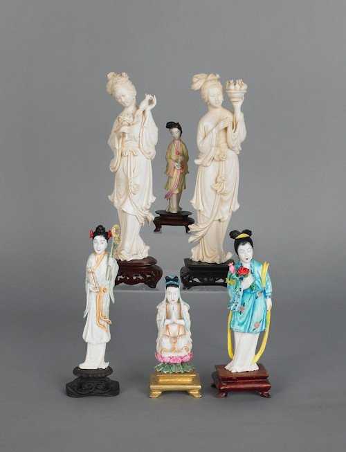 666: Six Chinese carved ivory figures, tallest - 8'' h.