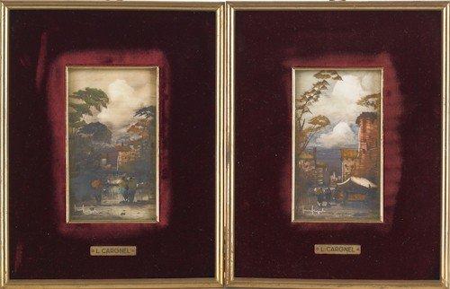 690: Six miniature oil European scenes.