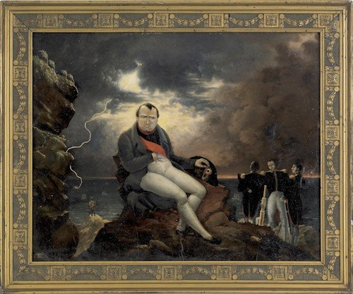 693: Oil on board of Napoleon, signed lower left Salq