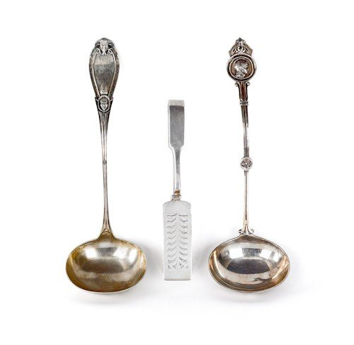 694: Coin silver medallion ladle, together with a Grec