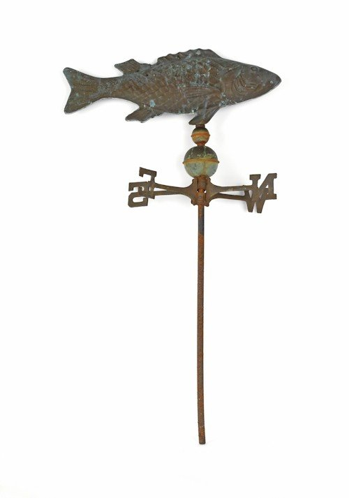 697: Swell bodied copper cod fish weathervane, early/m