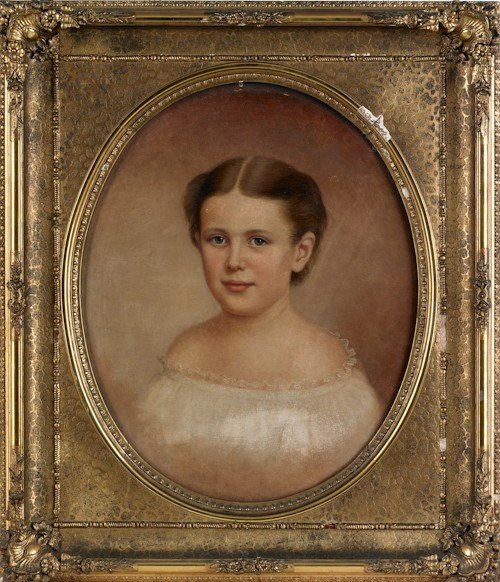 698: Victorian oil on canvas portrait of a girl, 21 1/