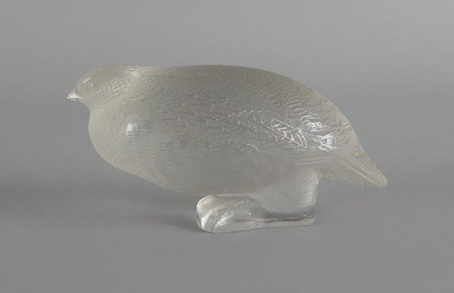 701: Lalique frosted glass quail, signed on base, 3'' h