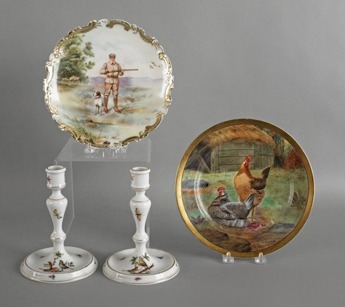 702: Pair of Herend candlesticks, 7'' h., together with