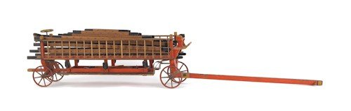 704: Painted hook and ladder wagon pull toy, ca. 1900,