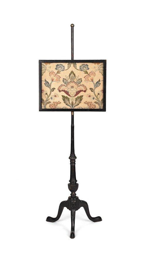 711: George III mahogany pole screen, ca. 1790, 55'' h.